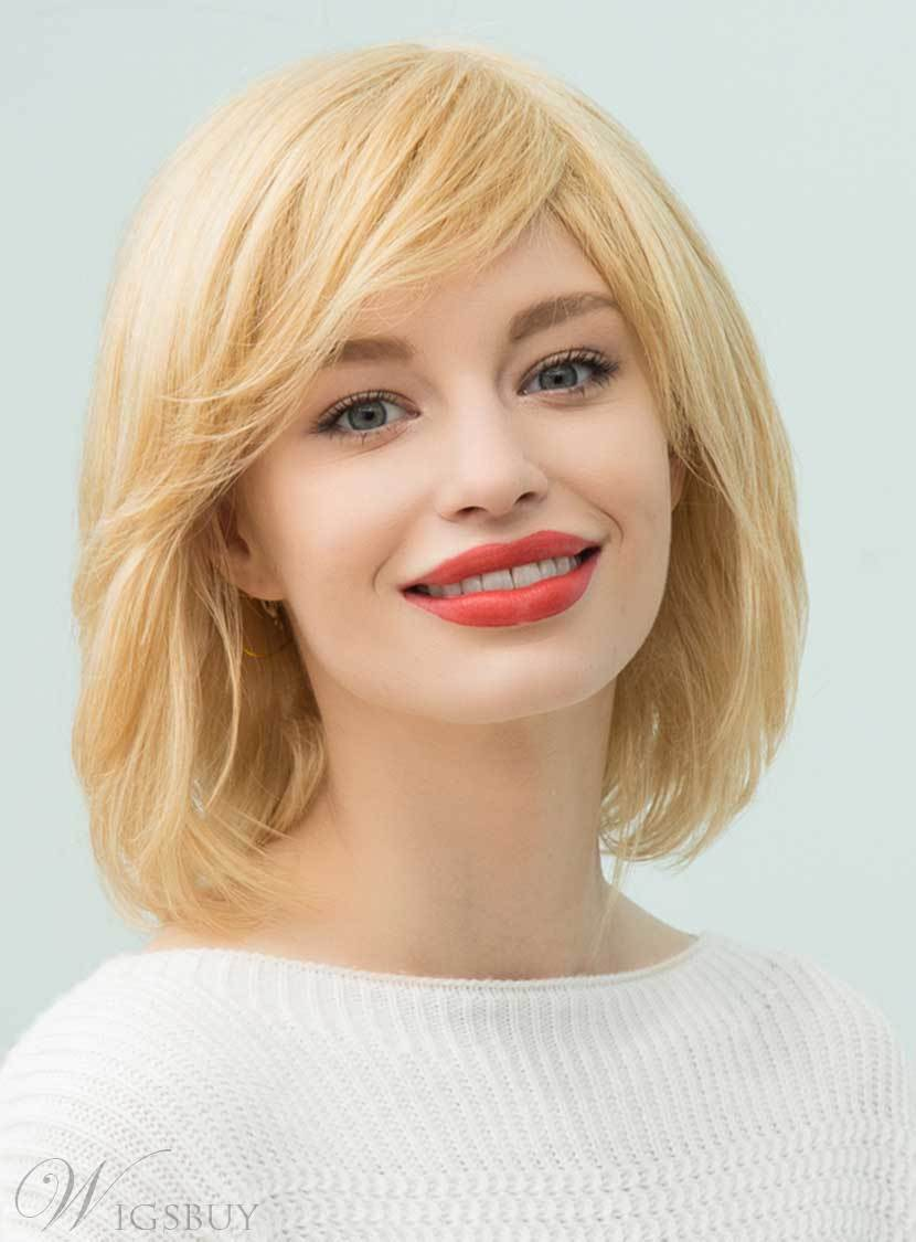 Mishair? Medium Straight Human Hair With Bangs Capless Cap Wigs 14 Inches 12748844
