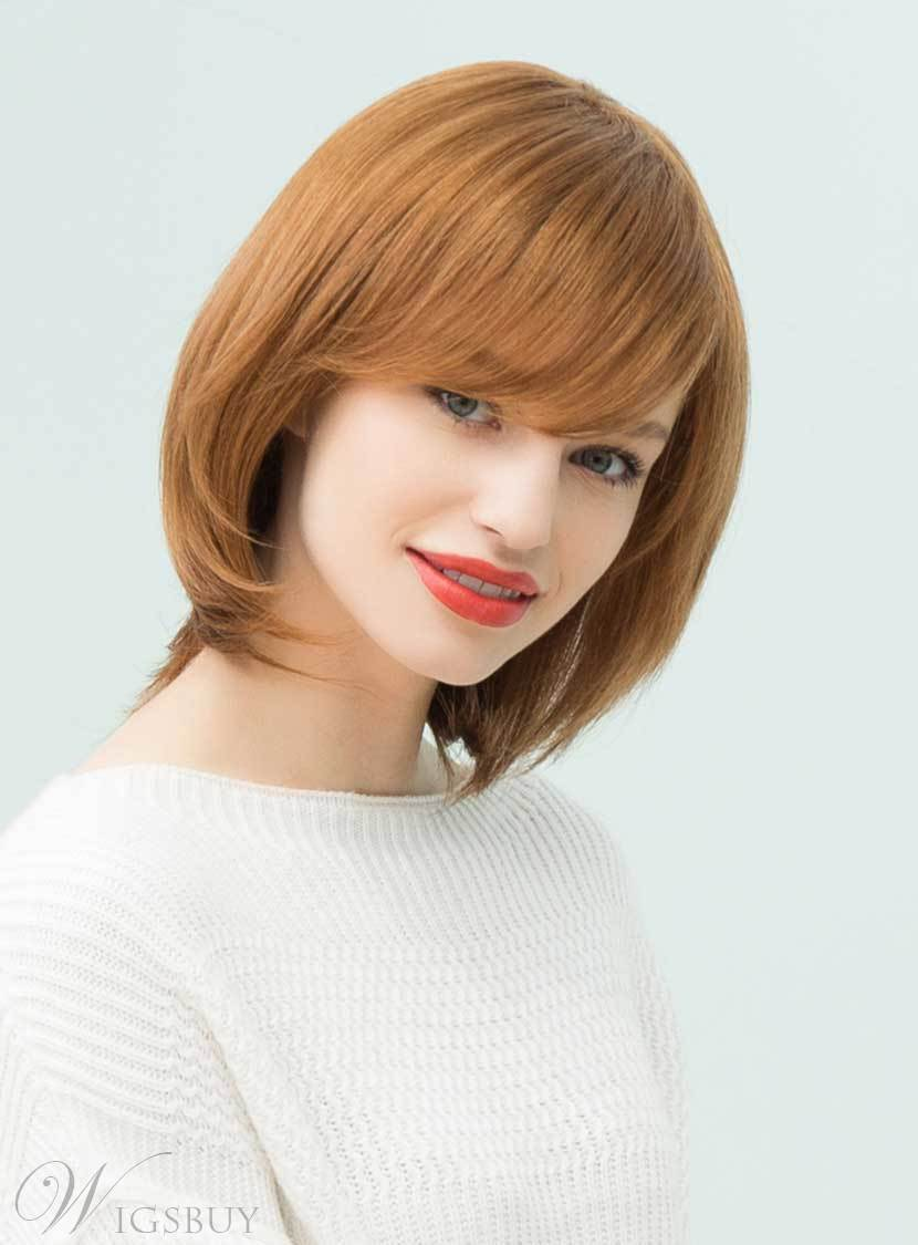Mishair? Attractive Bob Hairstyle Side Bangs Nature Straight Human Hair Blend Capless Wigs 12 Inches 12735373
