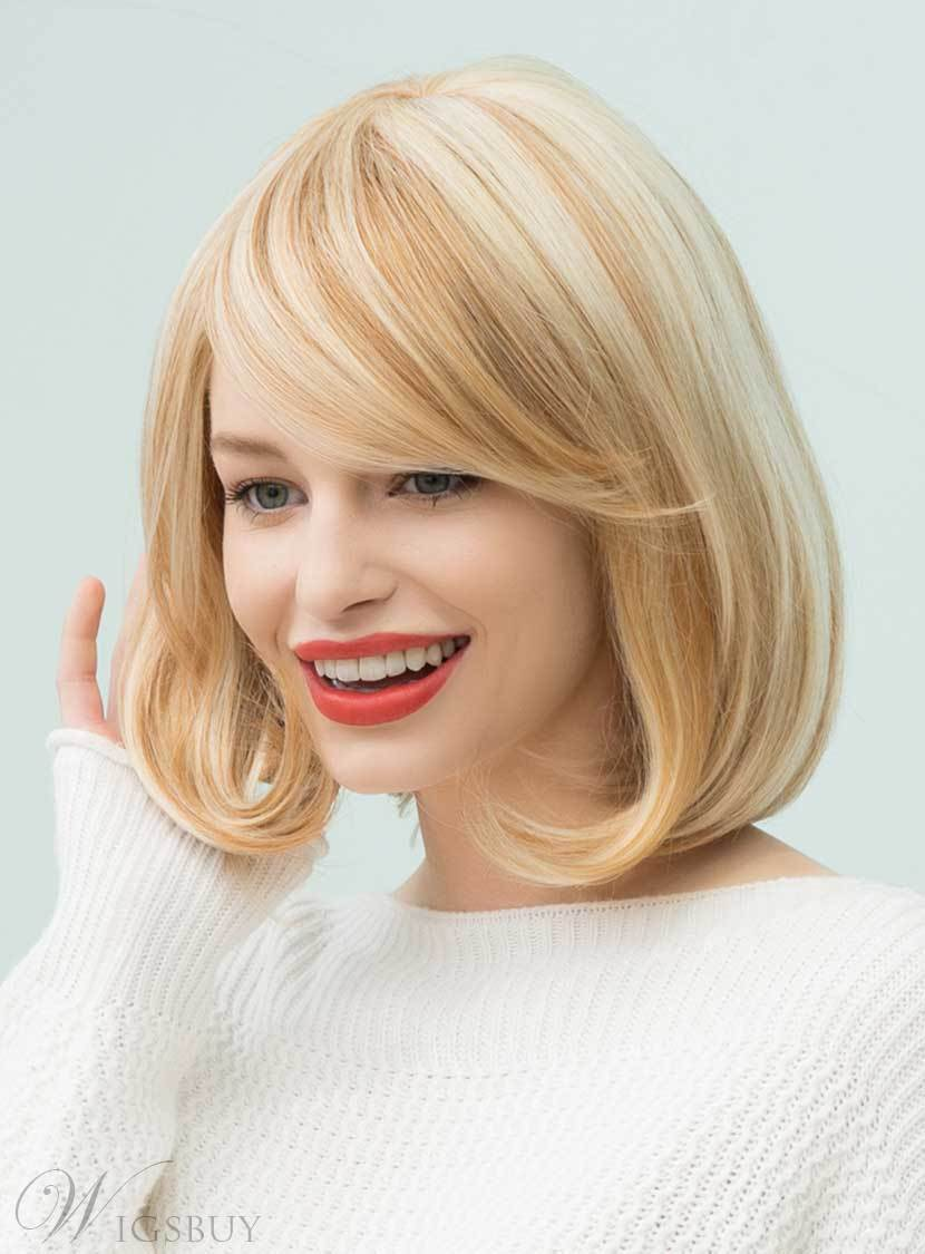 Mishair® Bob Hairstyles Straight Mixed Color Mid-Length Human Hair Capless Wigs 14 Inches 12722433