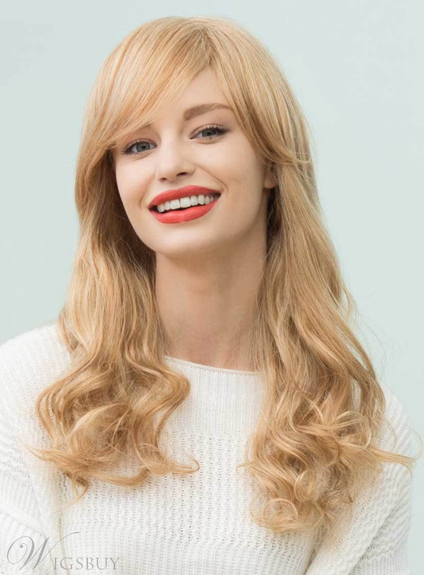 Mishair? Long Natural Wavy Side Part Bangs Human Hair Blend Capless Wigs 22 Inches 12735371
