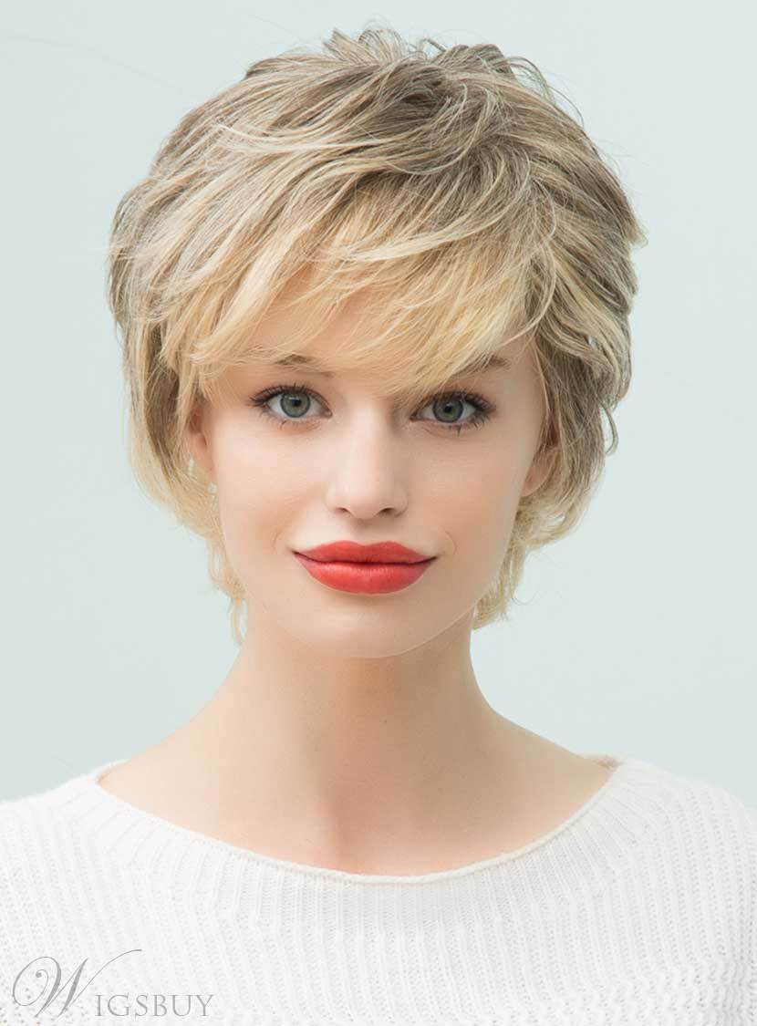 Mishair® Short Layered Curly Human Hair With Bangs Capless Wigs 10 Inches 12722432