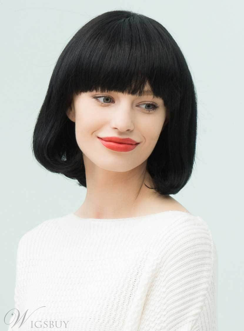 Mishair? Black Natural Medium Straight Bob With Bangs Hairstyle Human Hair Blend Capless Wigs 12 Inches 12735369