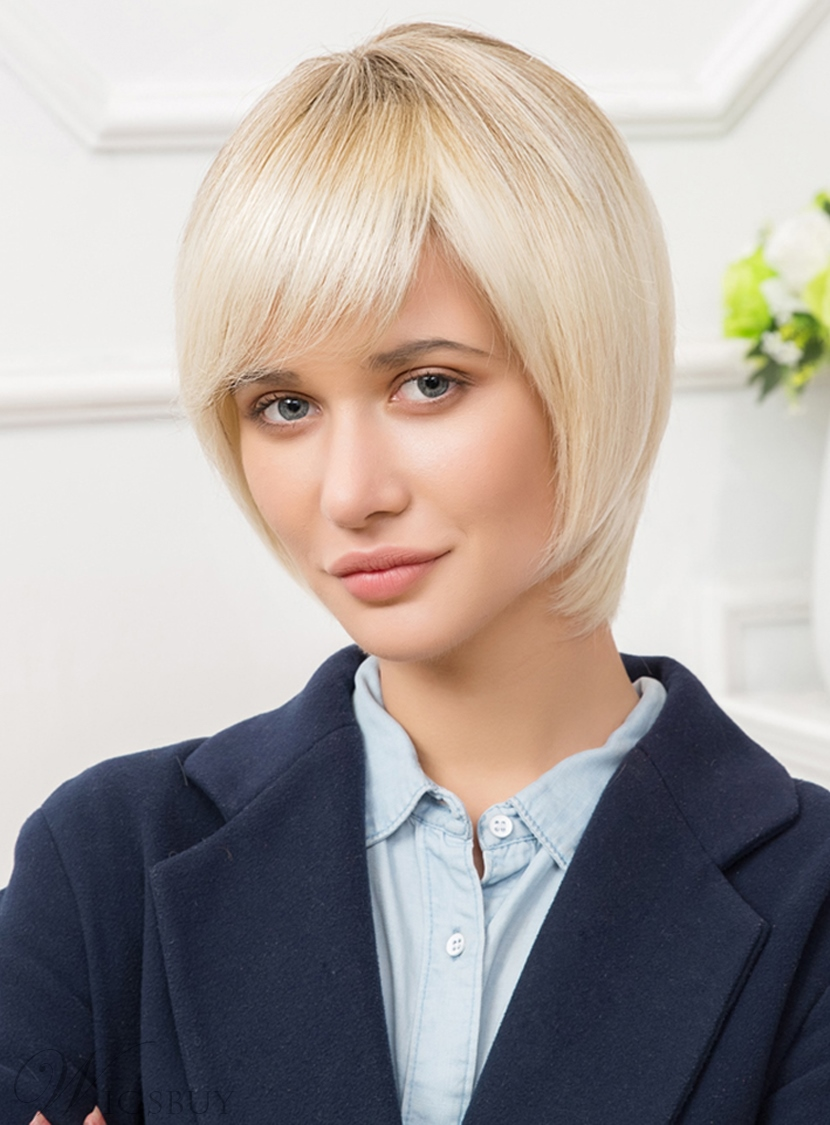 Mishair? Short Straight Lob Human Hair Blend Capless Wigs 10 Inches 12735372