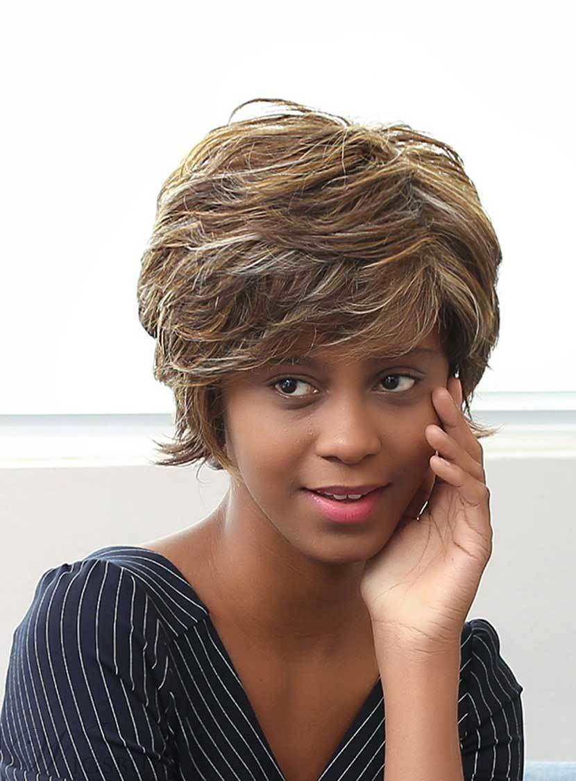 Mishair® Short Layered Messy Mixed Color Curly Human Hair Capless Wigs 10 Inches 12735374
