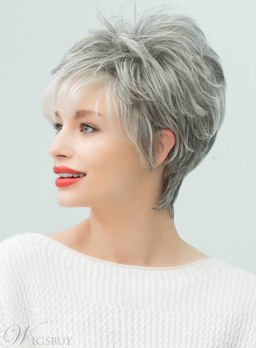 Mishair® Salt and Pepper Curly Short Gray Human Hair Capless Wigs 8 Inches