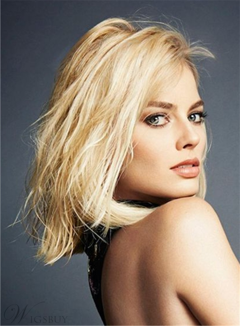 Margot Robbie Bob Hairstyle Mid-Length Straight Synthetic Hair Lace Front Wigs 12 Inches