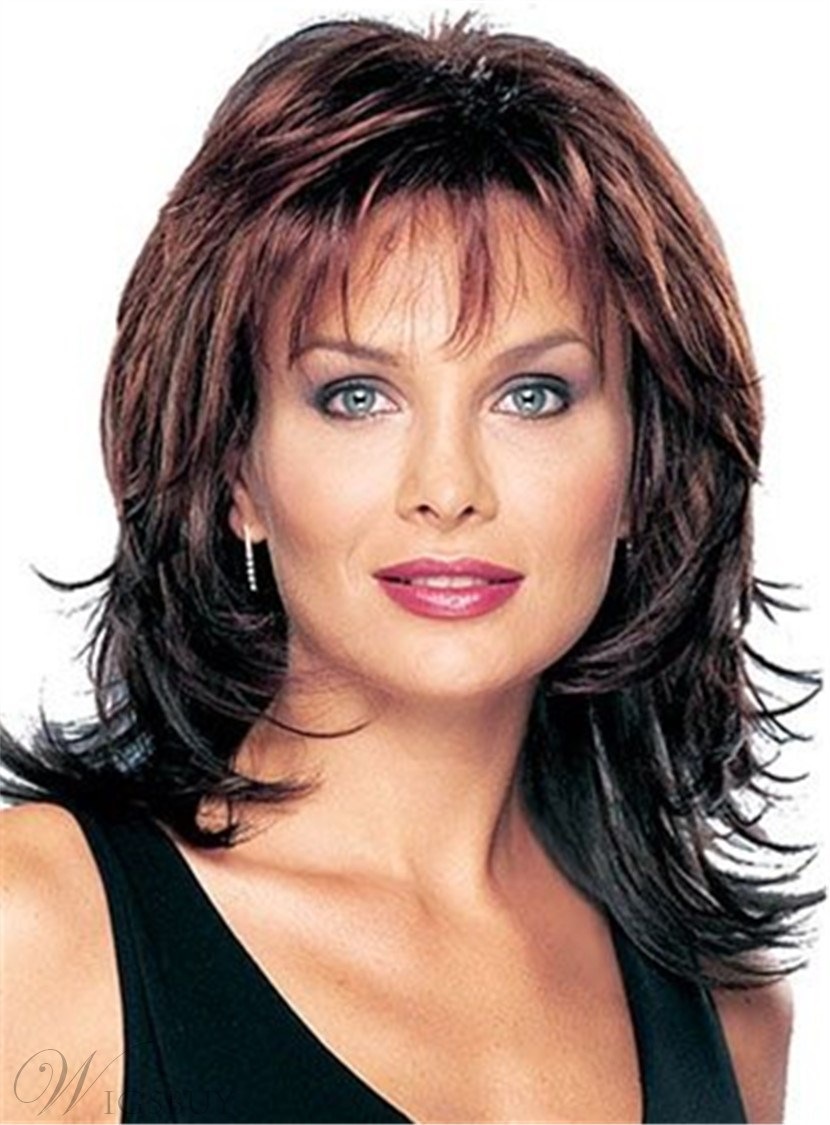Layered Shag Wavy Hairstyle with Full Bangs Middle Length Synthetic Hair Capless Wigs 12 Inches