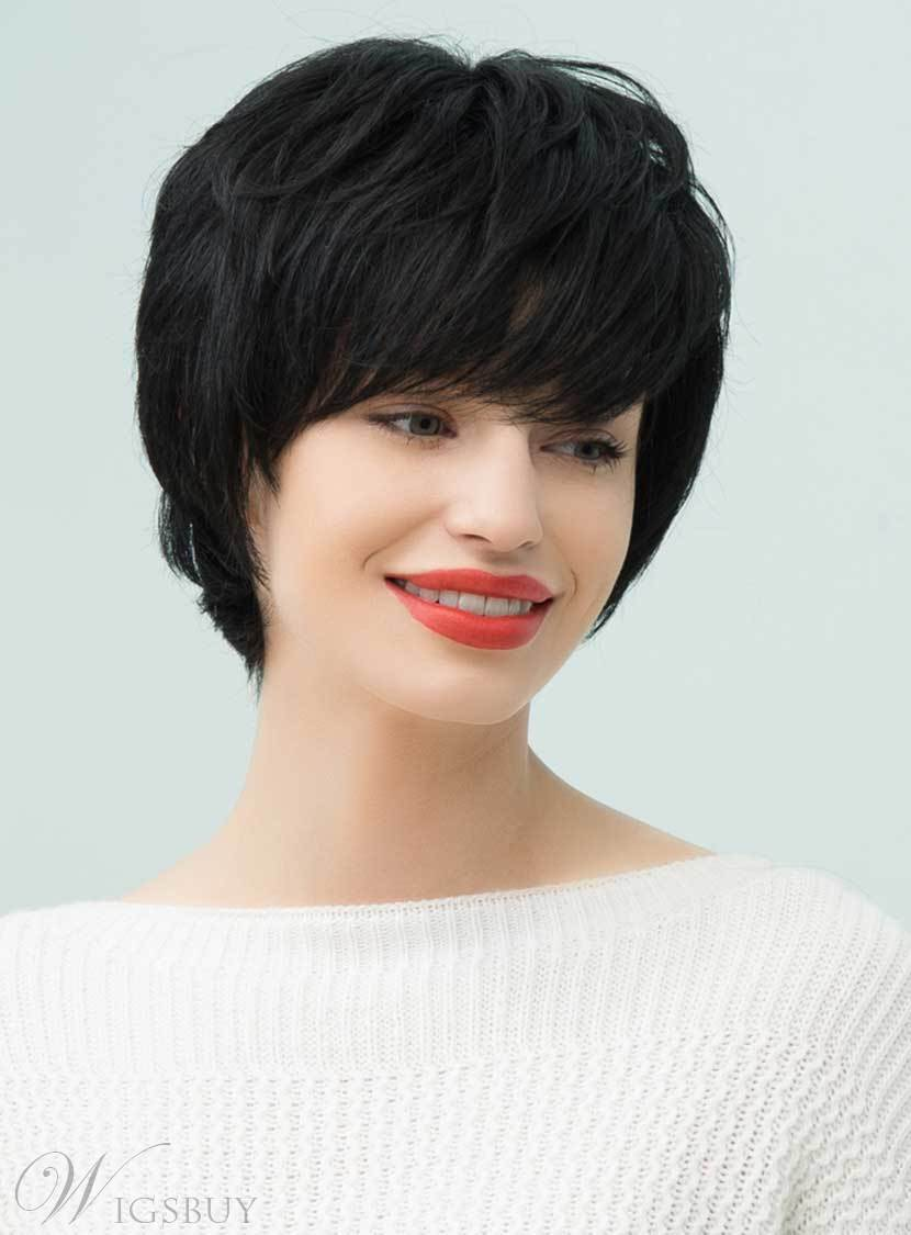 Mishair® Loose Pixie Natural Black Layered Short Straight Human Hair With Bangs Capless Cap Wigs 10 Inches