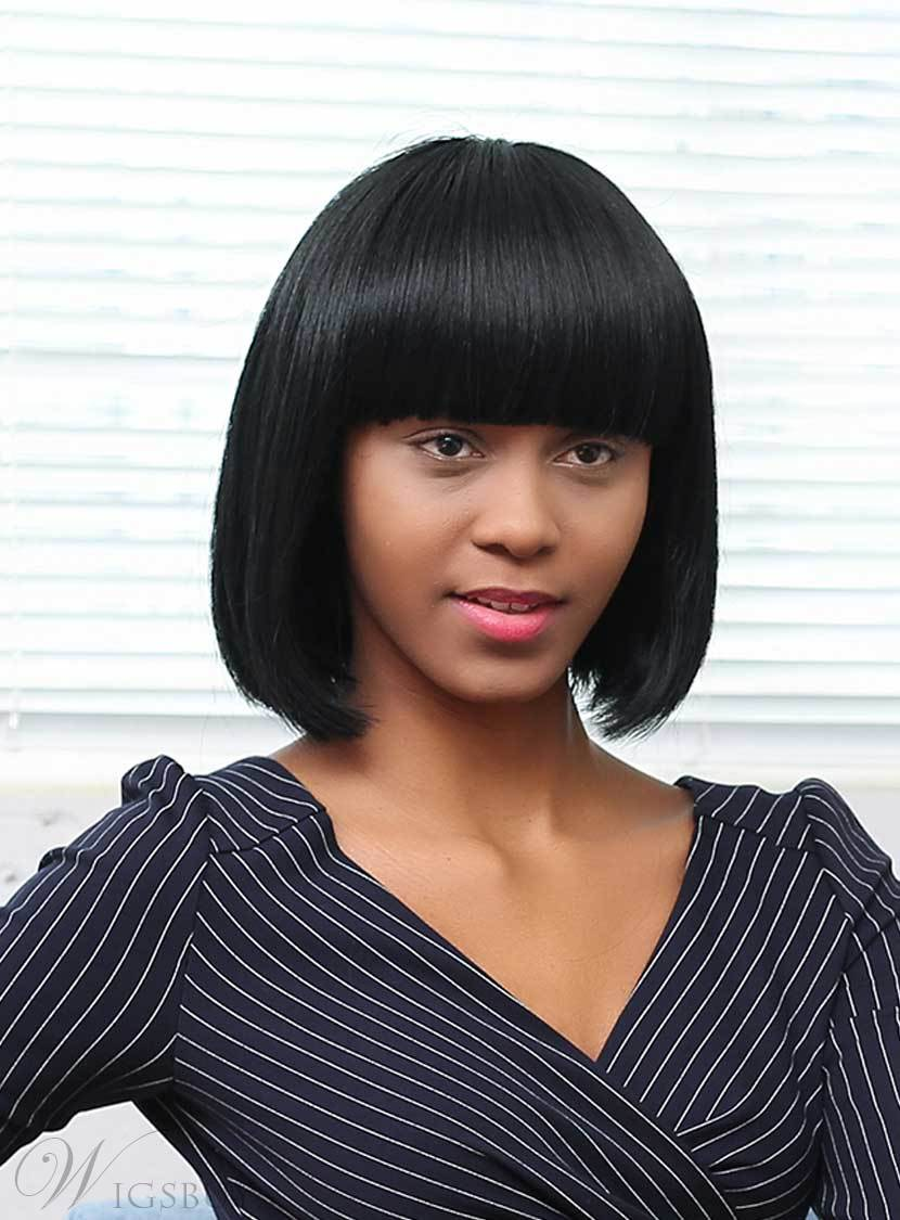 Mishair® Bob Short Straight Human Hair With Bangs Capless Wigs 12 Inches
