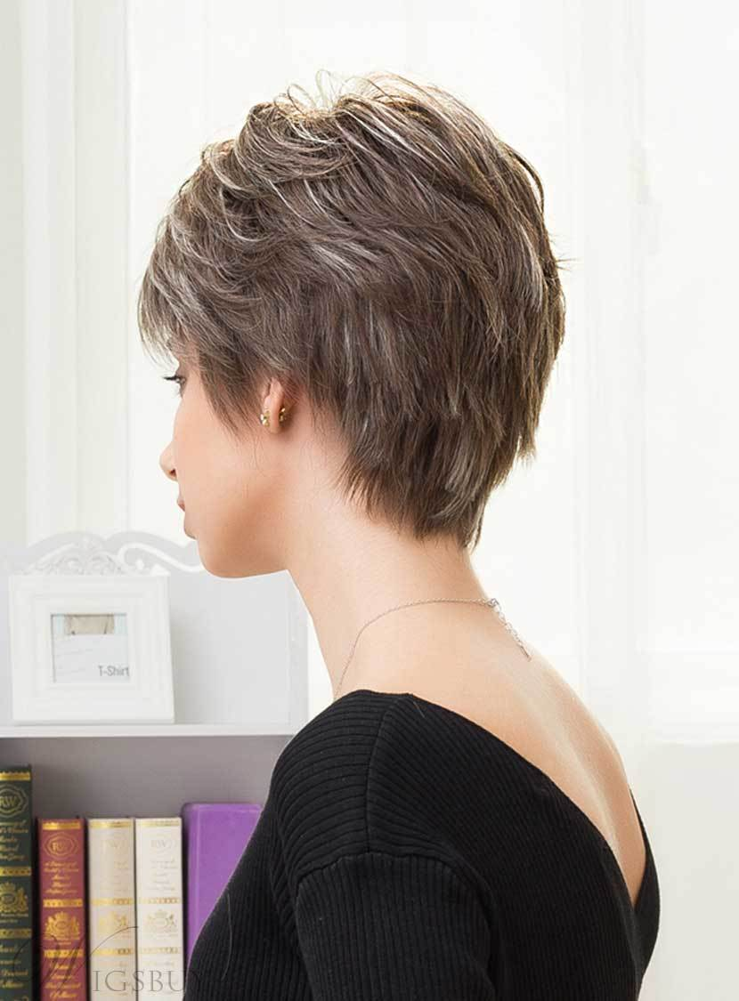 Mishair® Short Straight Color Mixture Human Hair Capless Wigs 8 Inches