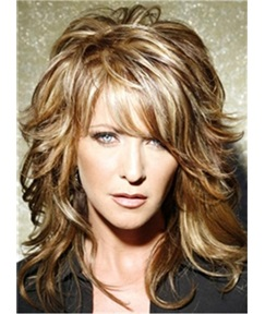 Layered Messy Wavy Mid-Length Human Hair Capless Wigs 14 Inches