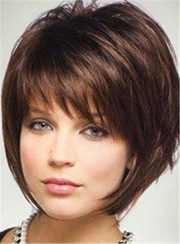 Short Layered Straight Human Hairstyle With Bangs Capless Wig 10 Inches