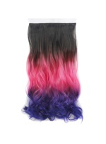 Ombre onda lunga capelli sintetici One Piece Clip In Hair Extensions 22 pollici