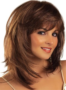Messy Bob Medium Straight Layered Synthetic Hair With Bangs Capless Wigs 14 Inches