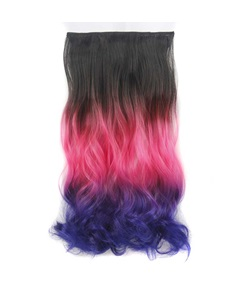 Ombre Long Wave Synthetic Hair One Piece Clip In Hair Extensions 22 Inches