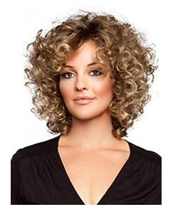 Loose Medium Kinky Curly Synthetic Hair Lace Front Wigs 12 Inches
