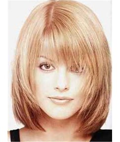 Sweet Shaggy Bob Medium Straight Synthetic Hair With Bangs Capless Wig 12 Inches