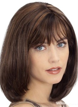 Elegant Medium Straight Human Hair Capless Bob Wig 12 Inches