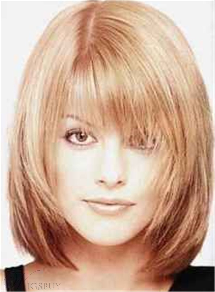 Sweet Shaggy Bob Medium Straight Synthetic Hair With Bangs Capless Wig 12 Inches 12728708