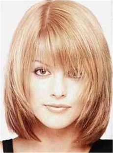 Shaggy Bob Medium Straight Synthetic Hair With Bangs Capless Wigs 12 Inches