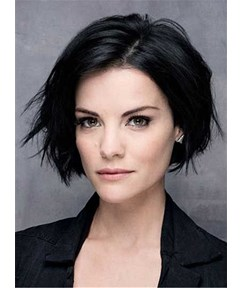 Short Straight Lob Side Swept Fringes Hairstyle Lace Front Black Human Hair Wigs 10 Inches