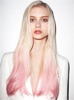 Pink Cute Dark Root Long Wave Ombre Synthetic Hair Lace Front Cap Wigs 20 Inches