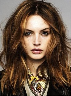 Middle Part Loose Wavy Mixed Color Women's Hairstyle Lace Front Synthetic Hair Wigs 14 Inches