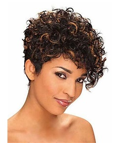 Mixed-Color Kinky Curly Short Synthetic Hair With One Side Bangs Capless Wigs 10 Inches