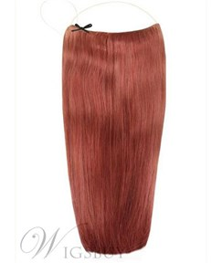 Dark Auburn Straight Human Hair Flip In Hair Extension