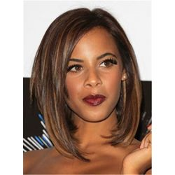 Bob Mixed Color Layered Straight Medium Human Hair Full Lace Cap Wigs 12 Inches