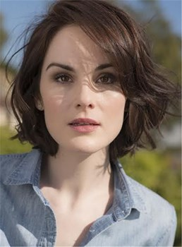 Michelle Dockery Short Wavy Side Swept Lob Hairstyle Lace Front Human Hair Wig 12 Inches