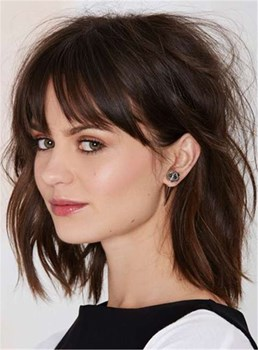 Mid-Length Layered Straight Capless Human Hair Wig 14 Inches