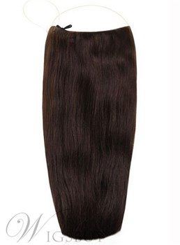 Dark Brown Smooth Straight Human Hair Flip In Hair Extension