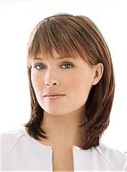 Medium Shaggy Lob Straight Human Hair With Bangs Women Wig 12 Inches