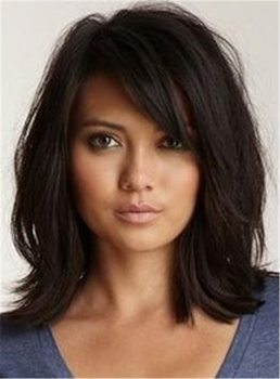Loose Messy Lob Medium Wave Synthetic Hair With Bangs Capless Wigs 14 Inches