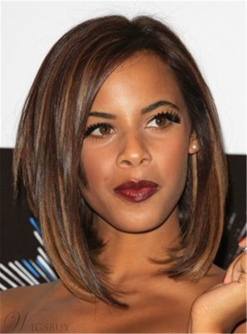 Bob Mixed Color Layered Straight Medium Human Hair Full Lace Cap Wigs 12 Inches 12742050