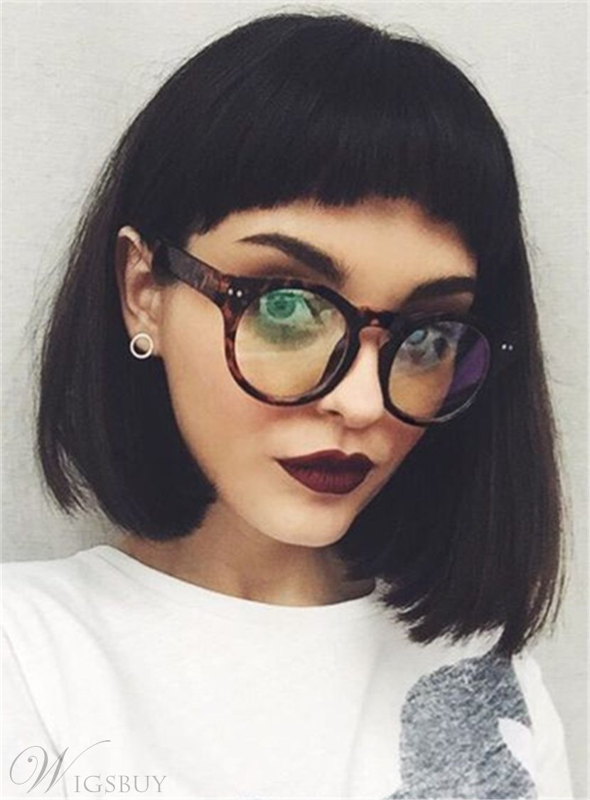 Bob Straight Short Synthetic Hair With Bangs Capless Wigs 10 Inches