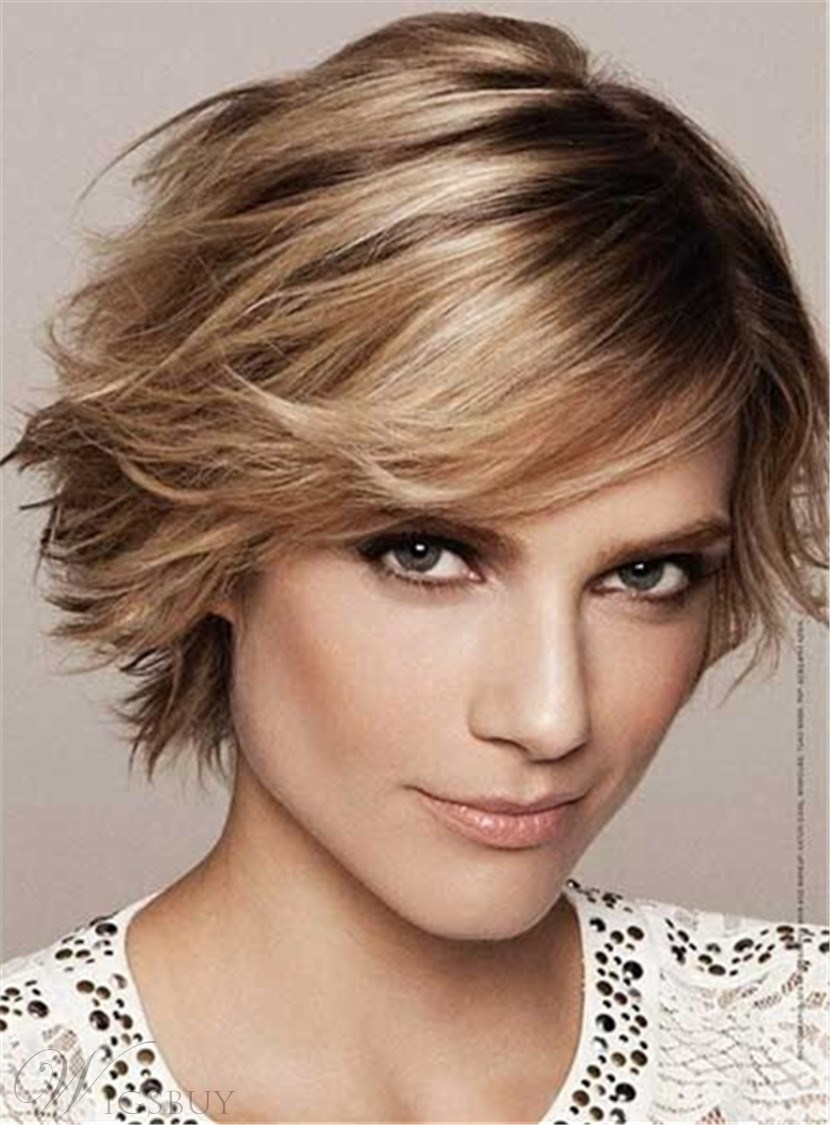 Feathered Pixie Haircut Short Straight Lob Synthetic Hair Capless