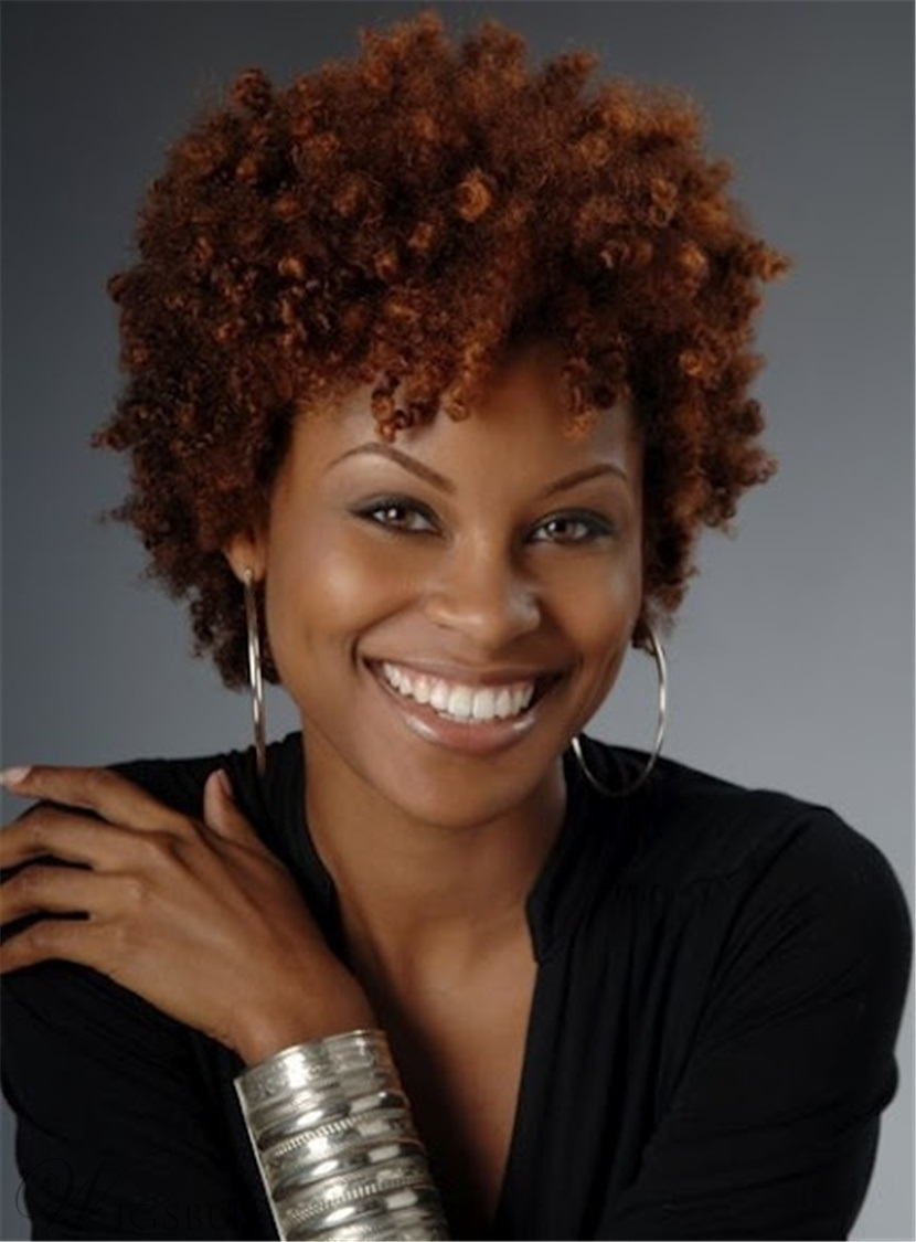Brown Kinky Curly Short Synthetic Hair Capless Wigs
