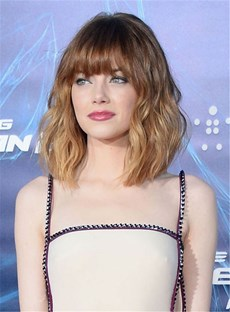 Layered Messy Wavy Bangs Mid-Length Human Hair Capless Wigs