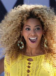 Beyonce Haircut Dark Root Medium Kinky Curly Ombre Synthetic Hair Lace Front Cap Wigs 14 Inches