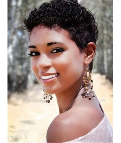 African American Short Kinky Curly Human Hair Capless Wigs