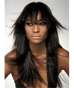 Natural Black Long Straight Layered Synthetic Hair With Bangs Capless Cap Wigs 18 Inches