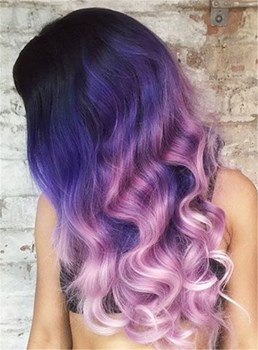 Sexy Fasinating Long Wavy Mixed Color Lace Front Synthetic Hair Wig 22 Inches