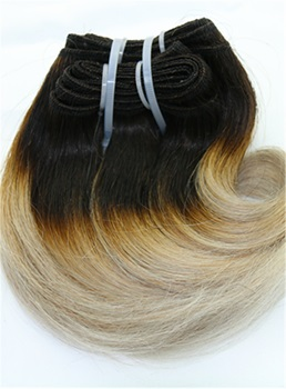 Dark Root with Gray Short Straight Human Hair Weave 8 Inches