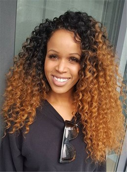 Top Quality Medium Curly Lace Front Synthetic Hair Wig 22 Inches