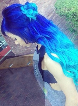 Blue Dark Root Long Wave Ombre Synthetic Hair Lace Front Cap Wigs 26 Inches