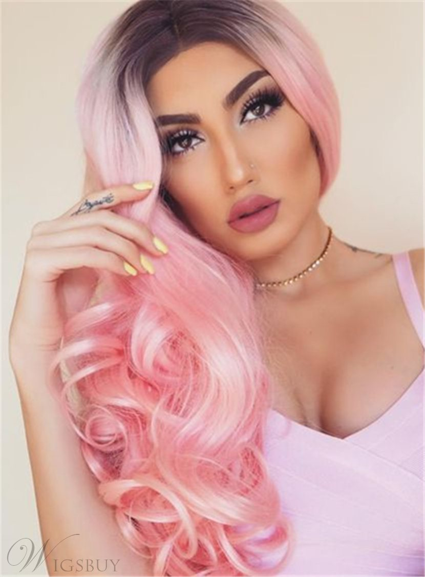 Pink Dark Root Long Wave Ombre Synthetic Hair Lace Front Cap Wigs 24 Inches
