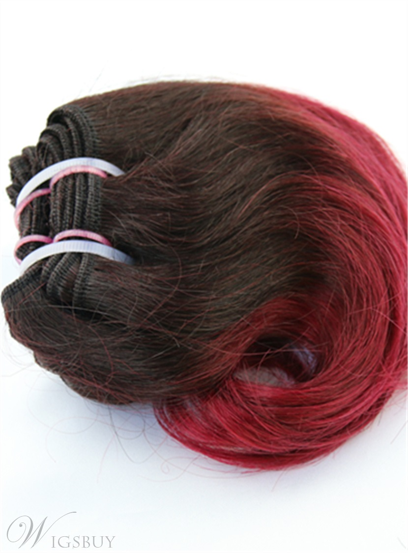 Dark Root With Wine Red Short Straight Human Hair Weave 8