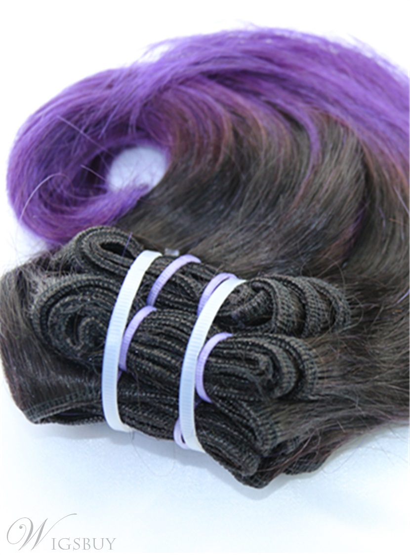 Short Straight Human Hair 1B/ Purple Weave 8 Inches